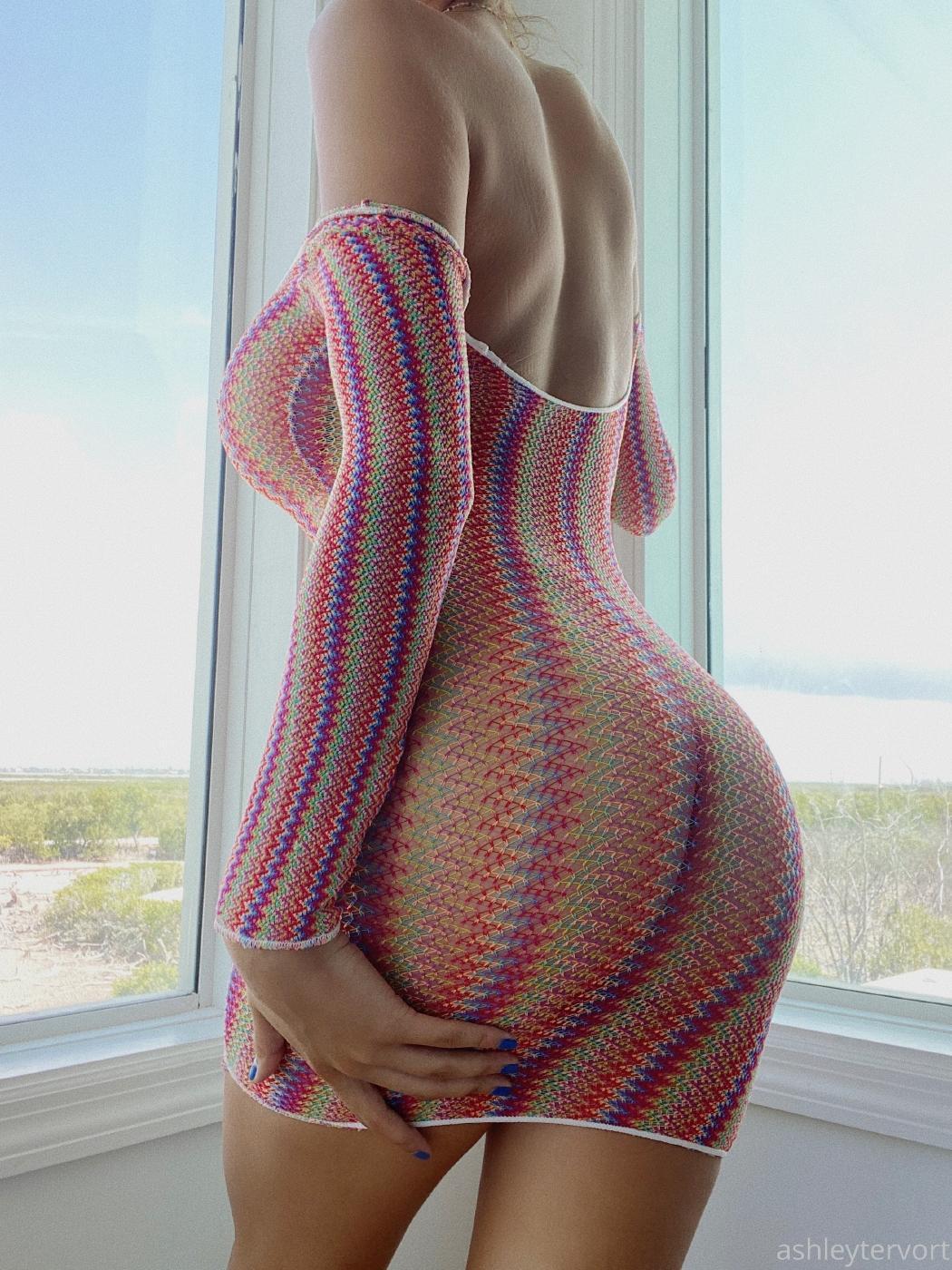 Ashley Tervort See Through Fishnet Dress Onlyfans Leaked 6